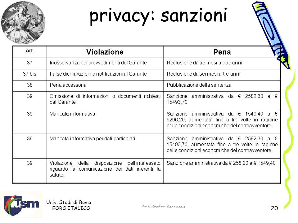 Univ. Studi di Roma FORO ITALICO Prof. Stefano Razzicchia 20 privacy: sanzioni Art. ViolazionePena 37Inosservanza dei provvedimenti del GaranteReclusi