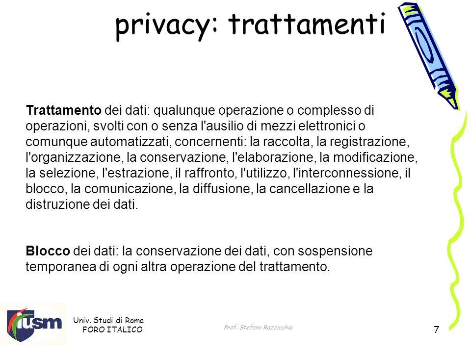 Univ. Studi di Roma FORO ITALICO Prof. Stefano Razzicchia 7 Blocco dei dati: la conservazione dei dati, con sospensione temporanea di ogni altra opera