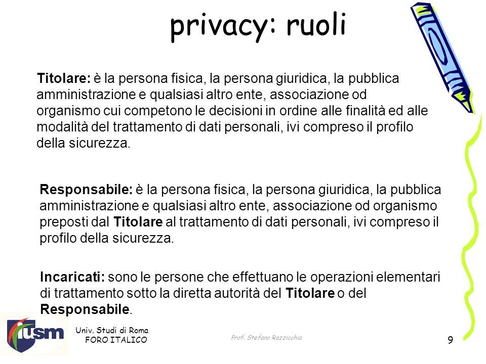 Univ. Studi di Roma FORO ITALICO Prof. Stefano Razzicchia 9 privacy: ruoli Titolare: è la persona fisica, la persona giuridica, la pubblica amministra