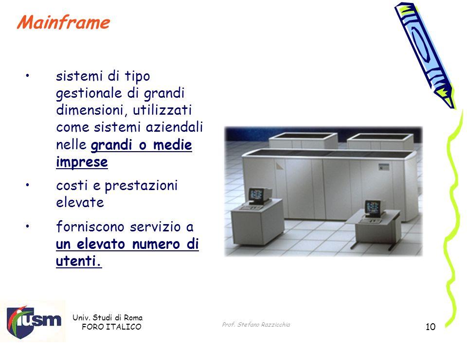 Univ. Studi di Roma FORO ITALICO Prof. Stefano Razzicchia 10 Mainframe sistemi di tipo gestionale di grandi dimensioni, utilizzati come sistemi aziend