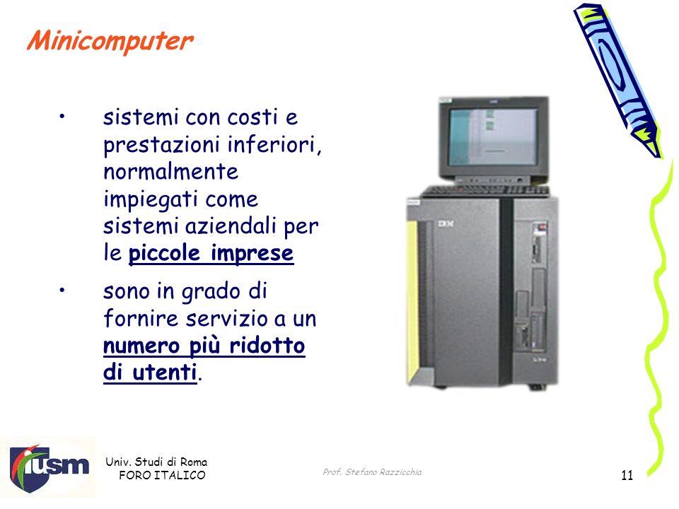 Univ. Studi di Roma FORO ITALICO Prof. Stefano Razzicchia 11 Minicomputer sistemi con costi e prestazioni inferiori, normalmente impiegati come sistem