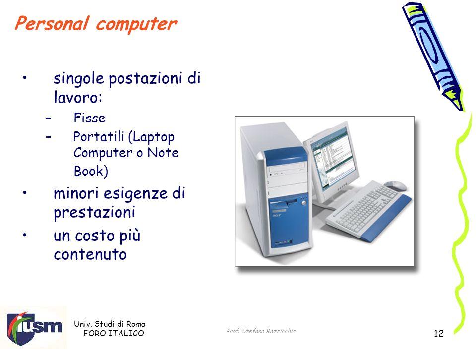Univ. Studi di Roma FORO ITALICO Prof. Stefano Razzicchia 12 Personal computer singole postazioni di lavoro: –Fisse –Portatili (Laptop Computer o Note
