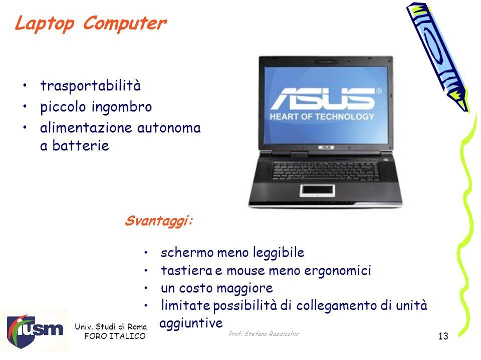 Univ. Studi di Roma FORO ITALICO Prof. Stefano Razzicchia 13 trasportabilità piccolo ingombro alimentazione autonoma a batterie Laptop Computer Svanta