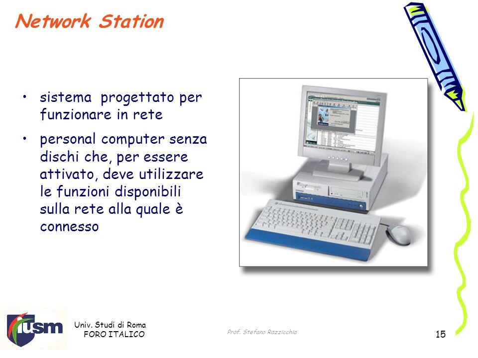 Univ. Studi di Roma FORO ITALICO Prof. Stefano Razzicchia 15 Network Station sistema progettato per funzionare in rete personal computer senza dischi