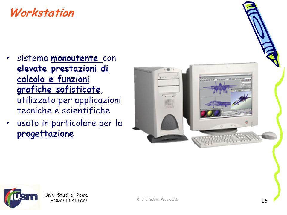 Univ. Studi di Roma FORO ITALICO Prof. Stefano Razzicchia 16 Workstation sistema monoutente con elevate prestazioni di calcolo e funzioni grafiche sof