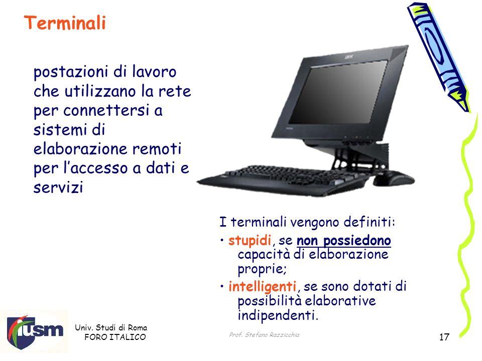 Univ. Studi di Roma FORO ITALICO Prof. Stefano Razzicchia 17 I terminali vengono definiti: stupidi, se non possiedono capacità di elaborazione proprie