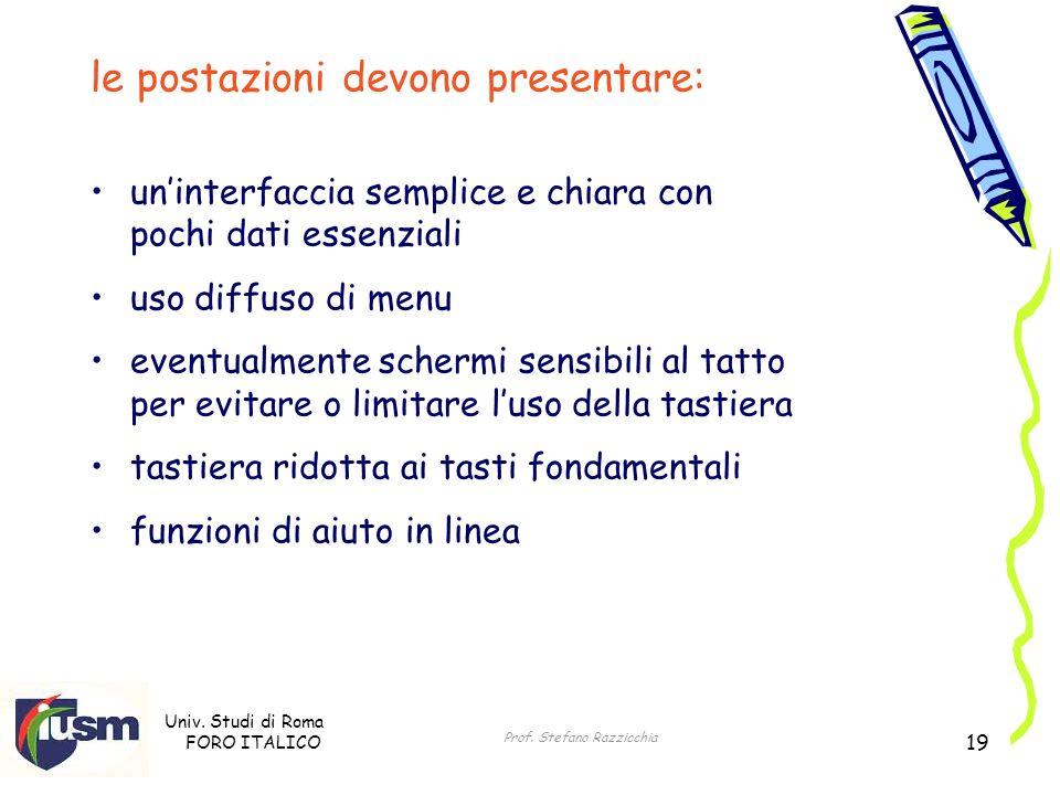Univ. Studi di Roma FORO ITALICO Prof. Stefano Razzicchia 19 le postazioni devono presentare: uninterfaccia semplice e chiara con pochi dati essenzial