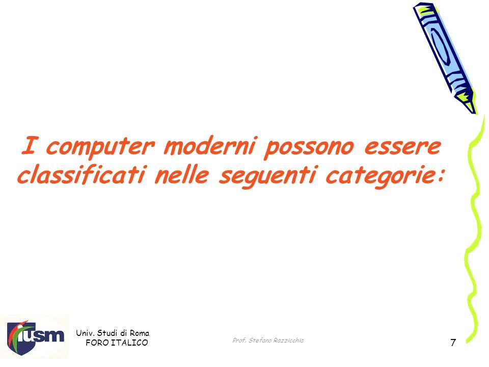 Univ. Studi di Roma FORO ITALICO Prof. Stefano Razzicchia 7 I computer moderni possono essere classificati nelle seguenti categorie: