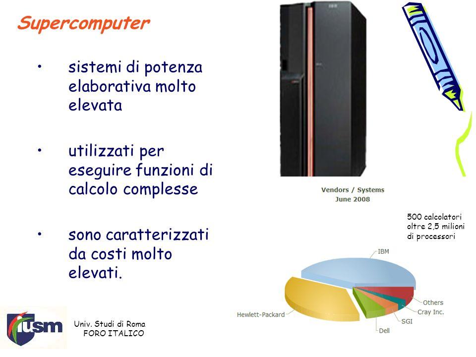 Univ. Studi di Roma FORO ITALICO Prof. Stefano Razzicchia 8 Supercomputer sistemi di potenza elaborativa molto elevata utilizzati per eseguire funzion