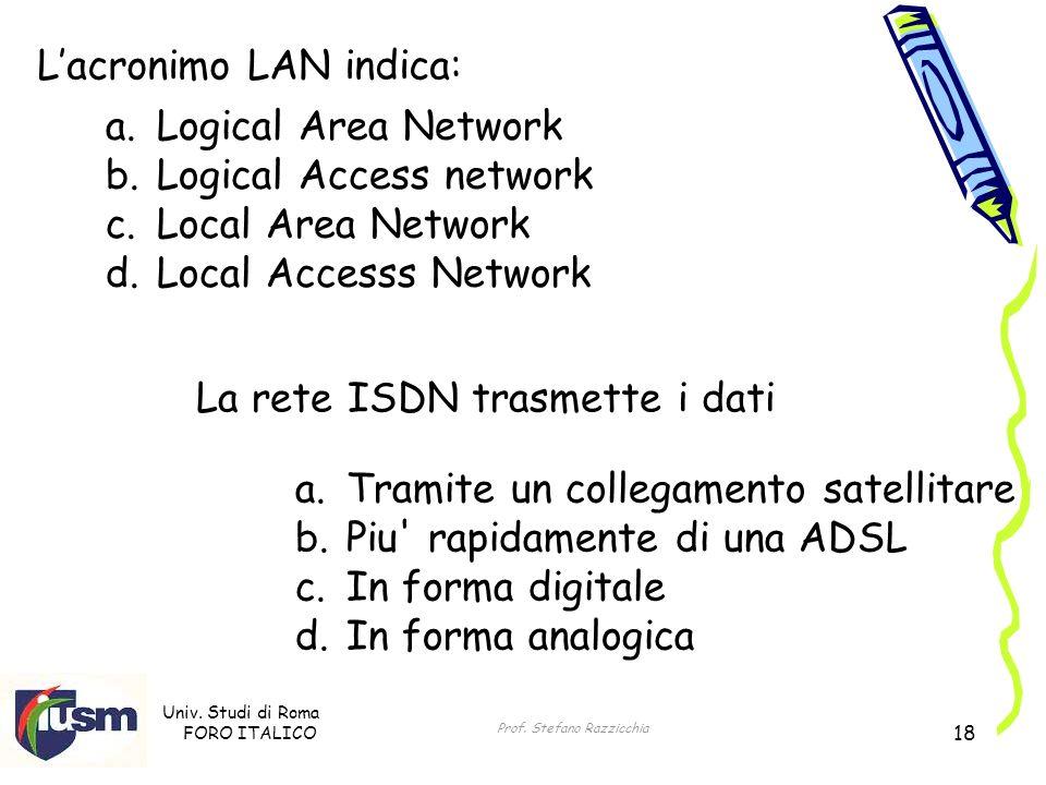 Univ. Studi di Roma FORO ITALICO Prof. Stefano Razzicchia 18 Lacronimo LAN indica: a.