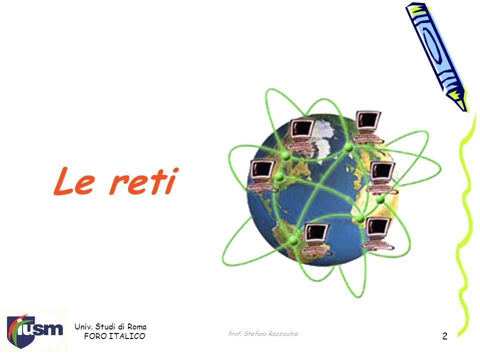 Univ. Studi di Roma FORO ITALICO Prof. Stefano Razzicchia 2 Le reti