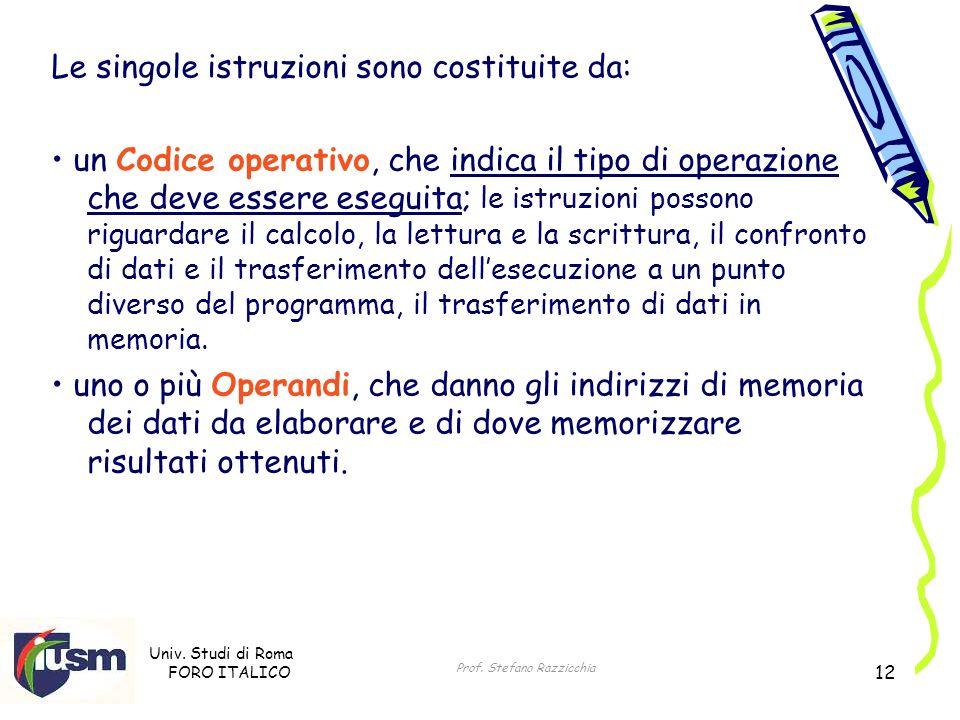 Univ. Studi di Roma FORO ITALICO Prof. Stefano Razzicchia 12 Le singole istruzioni sono costituite da: un Codice operativo, che indica il tipo di oper