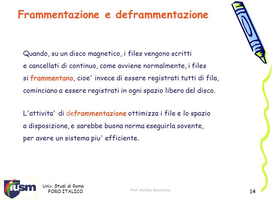 Univ. Studi di Roma FORO ITALICO Prof. Stefano Razzicchia 14 Quando, su un disco magnetico, i files vengono scritti e cancellati di continuo, come avv