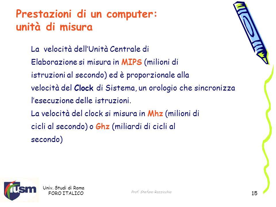 Univ. Studi di Roma FORO ITALICO Prof. Stefano Razzicchia 15 La velocità dellUnità Centrale di Elaborazione si misura in MIPS (milioni di istruzioni a