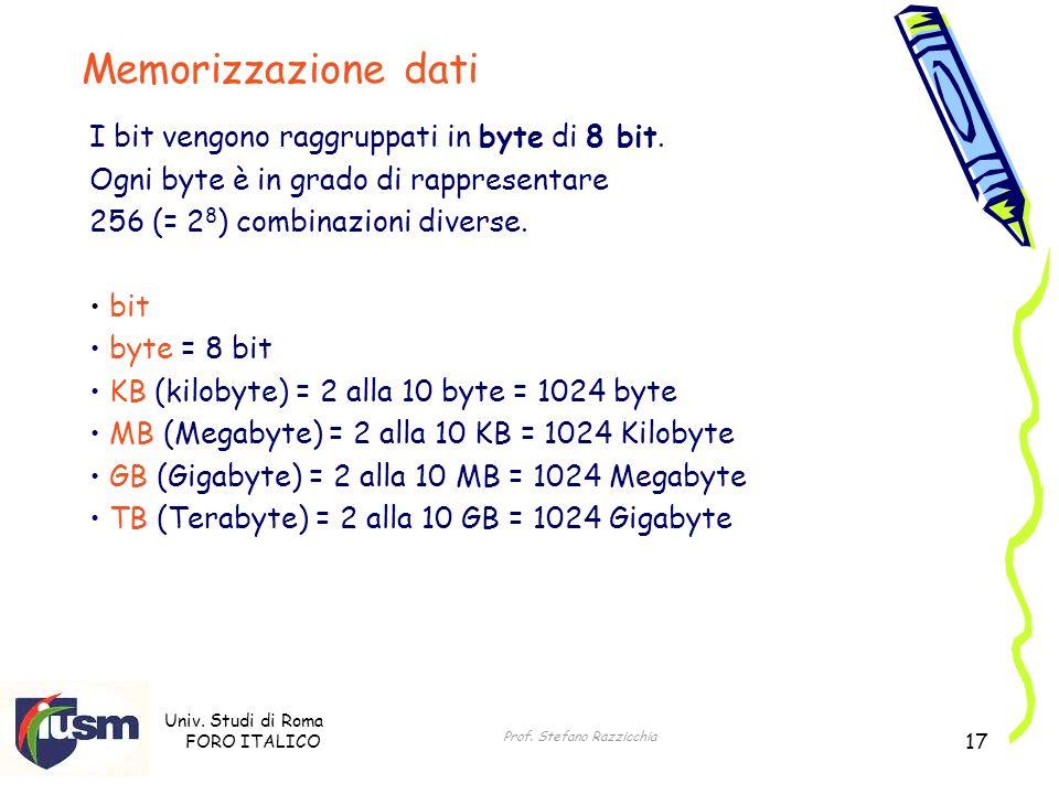 Univ. Studi di Roma FORO ITALICO Prof. Stefano Razzicchia 17 I bit vengono raggruppati in byte di 8 bit. Ogni byte è in grado di rappresentare 256 (=