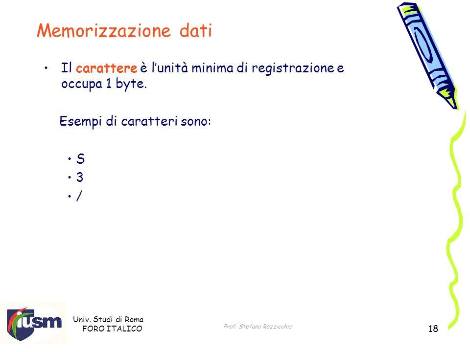 Univ. Studi di Roma FORO ITALICO Prof. Stefano Razzicchia 18 Il carattere è lunità minima di registrazione e occupa 1 byte. Esempi di caratteri sono: