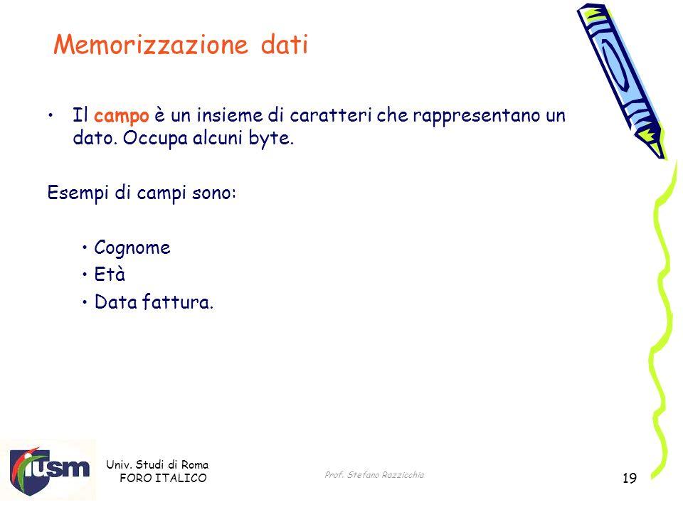 Univ. Studi di Roma FORO ITALICO Prof. Stefano Razzicchia 19 Il campo è un insieme di caratteri che rappresentano un dato. Occupa alcuni byte. Esempi