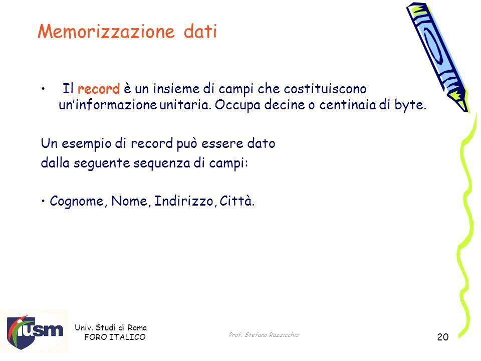 Univ. Studi di Roma FORO ITALICO Prof. Stefano Razzicchia 20 Il record è un insieme di campi che costituiscono uninformazione unitaria. Occupa decine