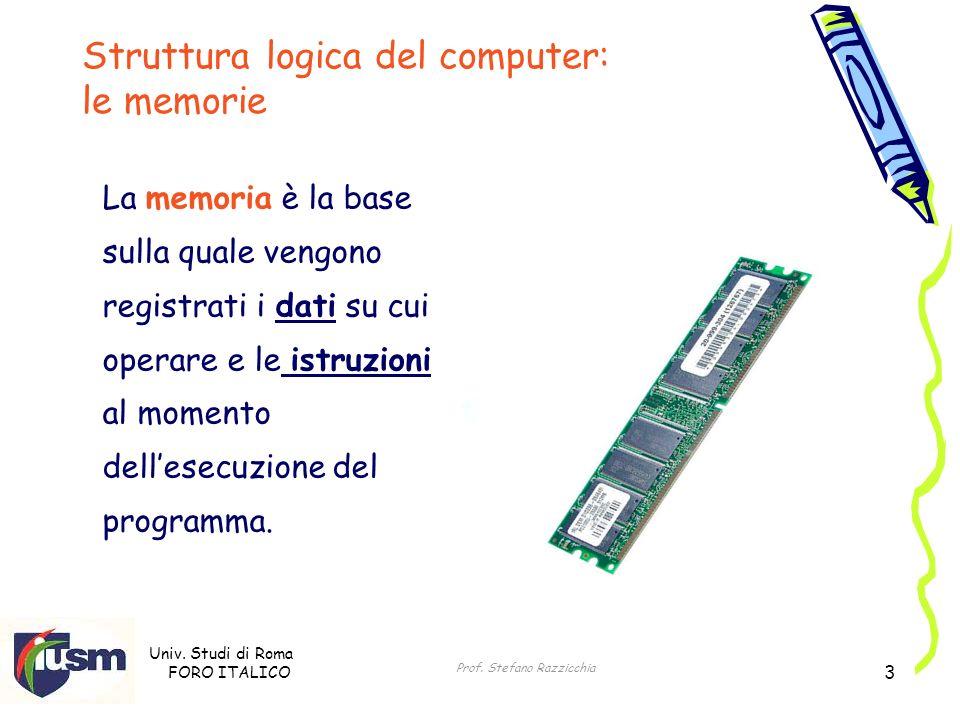 Univ. Studi di Roma FORO ITALICO Prof. Stefano Razzicchia 3 Struttura logica del computer: le memorie La memoria è la base sulla quale vengono registr