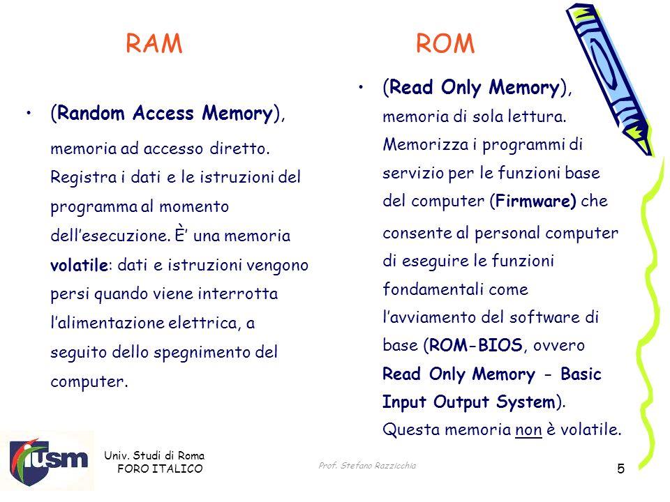 Univ. Studi di Roma FORO ITALICO Prof. Stefano Razzicchia 5 (Random Access Memory), memoria ad accesso diretto. Registra i dati e le istruzioni del pr