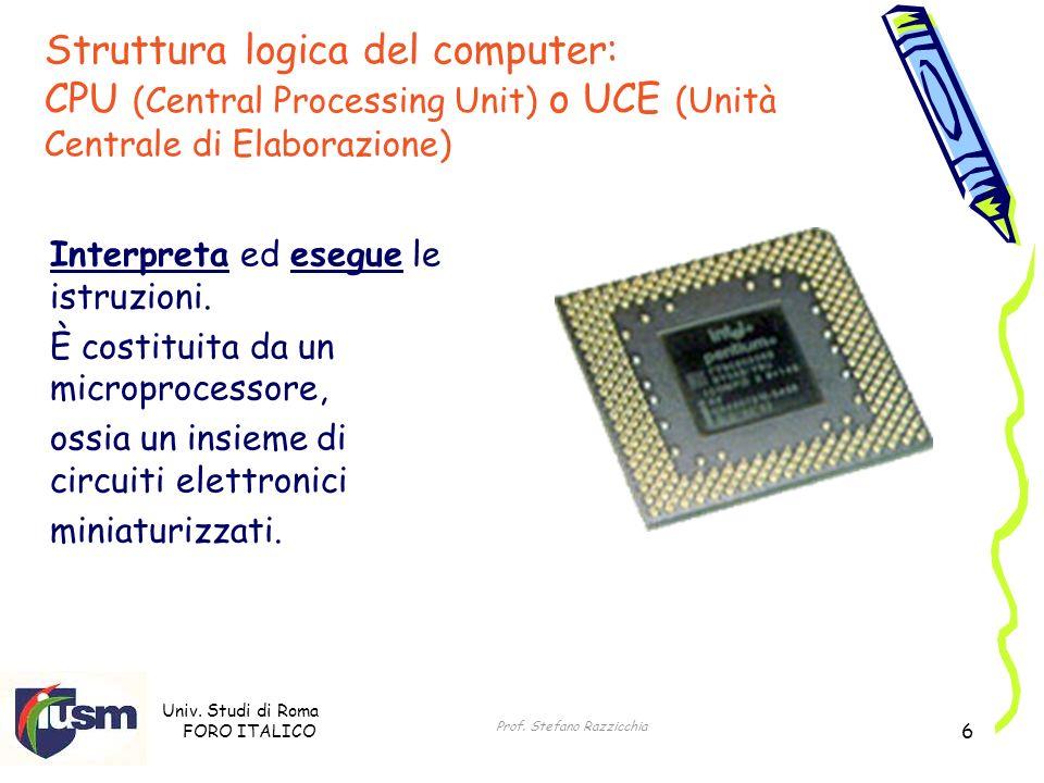Univ. Studi di Roma FORO ITALICO Prof. Stefano Razzicchia 6 Interpreta ed esegue le istruzioni. È costituita da un microprocessore, ossia un insieme d