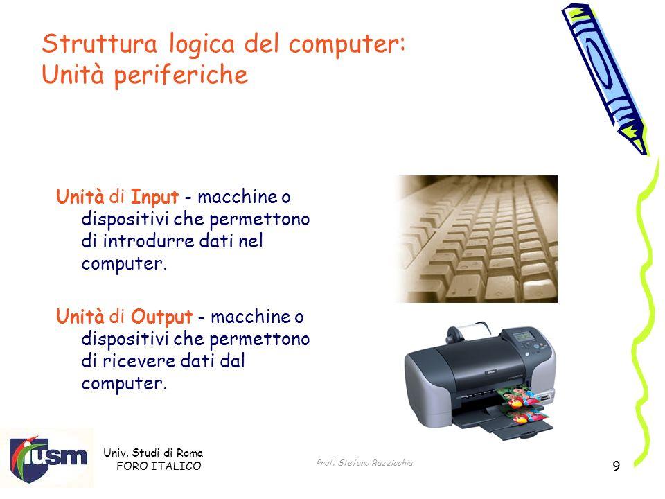 Univ. Studi di Roma FORO ITALICO Prof. Stefano Razzicchia 9 Unità di Input - macchine o dispositivi che permettono di introdurre dati nel computer. Un