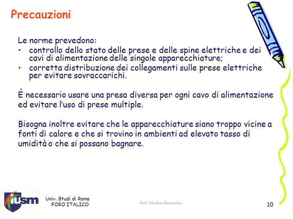Univ. Studi di Roma FORO ITALICO Prof. Stefano Razzicchia 10 Le norme prevedono: controllo dello stato delle prese e delle spine elettriche e dei cavi