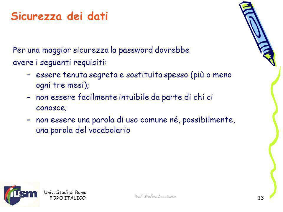 Univ. Studi di Roma FORO ITALICO Prof. Stefano Razzicchia 13 Per una maggior sicurezza la password dovrebbe avere i seguenti requisiti: –essere tenuta