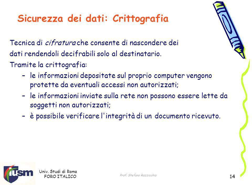 Univ. Studi di Roma FORO ITALICO Prof. Stefano Razzicchia 14 Tecnica di cifratura che consente di nascondere dei dati rendendoli decifrabili solo al d