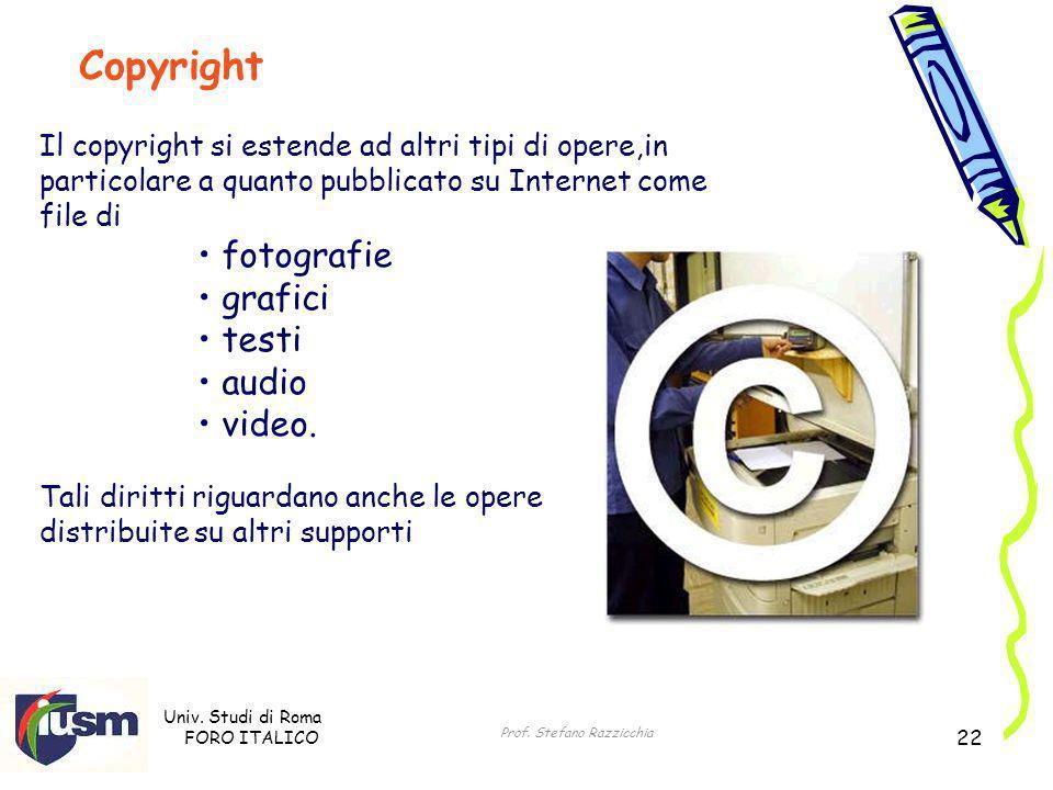Univ. Studi di Roma FORO ITALICO Prof. Stefano Razzicchia 22 Il copyright si estende ad altri tipi di opere,in particolare a quanto pubblicato su Inte