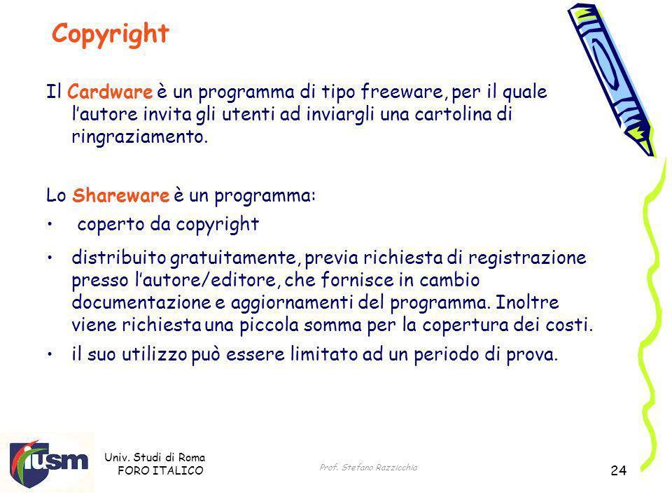 Univ. Studi di Roma FORO ITALICO Prof. Stefano Razzicchia 24 Il Cardware è un programma di tipo freeware, per il quale lautore invita gli utenti ad in