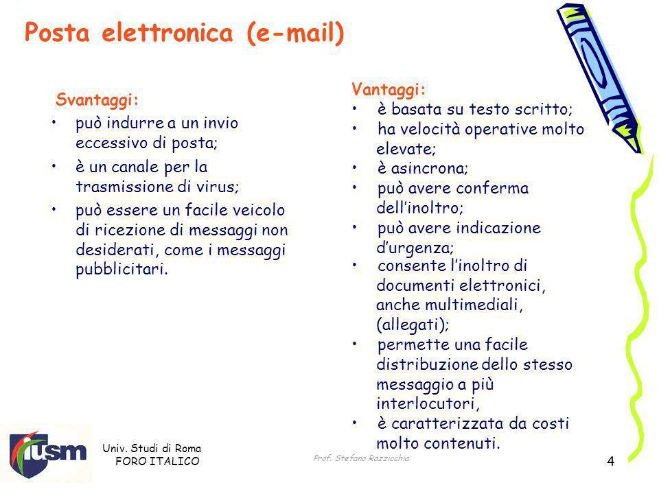 Univ. Studi di Roma FORO ITALICO Prof. Stefano Razzicchia 4 Vantaggi: è basata su testo scritto; ha velocità operative molto elevate; è asincrona; può