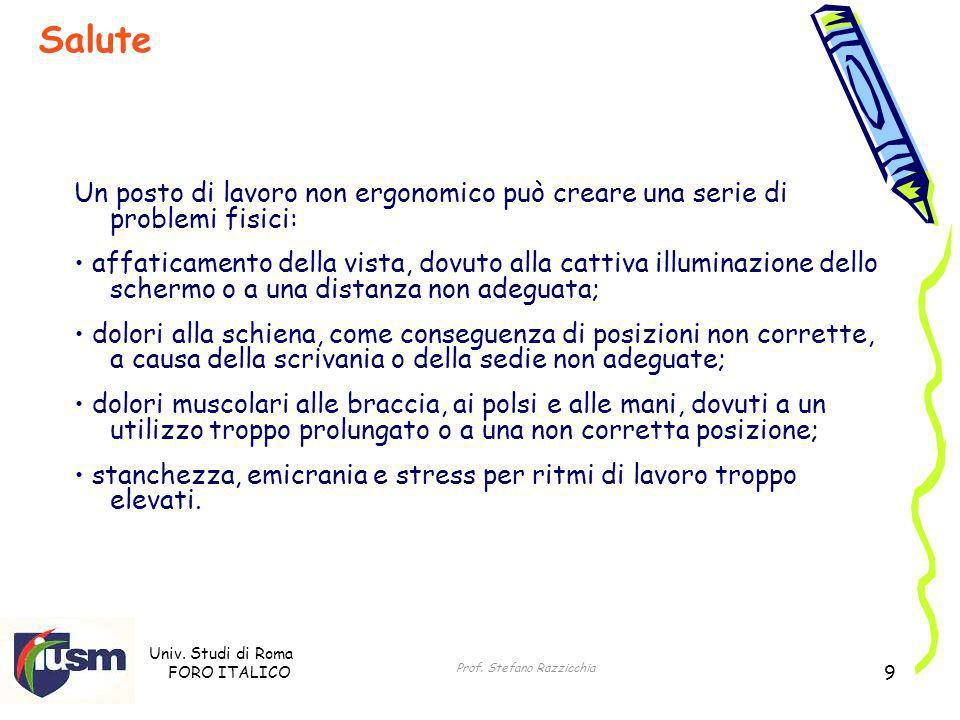 Univ. Studi di Roma FORO ITALICO Prof. Stefano Razzicchia 9 Un posto di lavoro non ergonomico può creare una serie di problemi fisici: affaticamento d