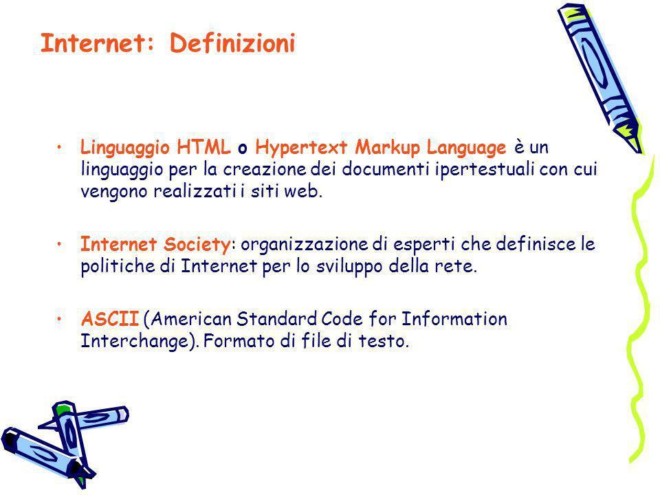 Linguaggio HTML o Hypertext Markup Language è un linguaggio per la creazione dei documenti ipertestuali con cui vengono realizzati i siti web. Interne