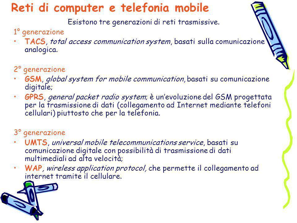 Esistono tre generazioni di reti trasmissive. 1° generazione TACS, total access communication system, basati sulla comunicazione analogica. 2° generaz