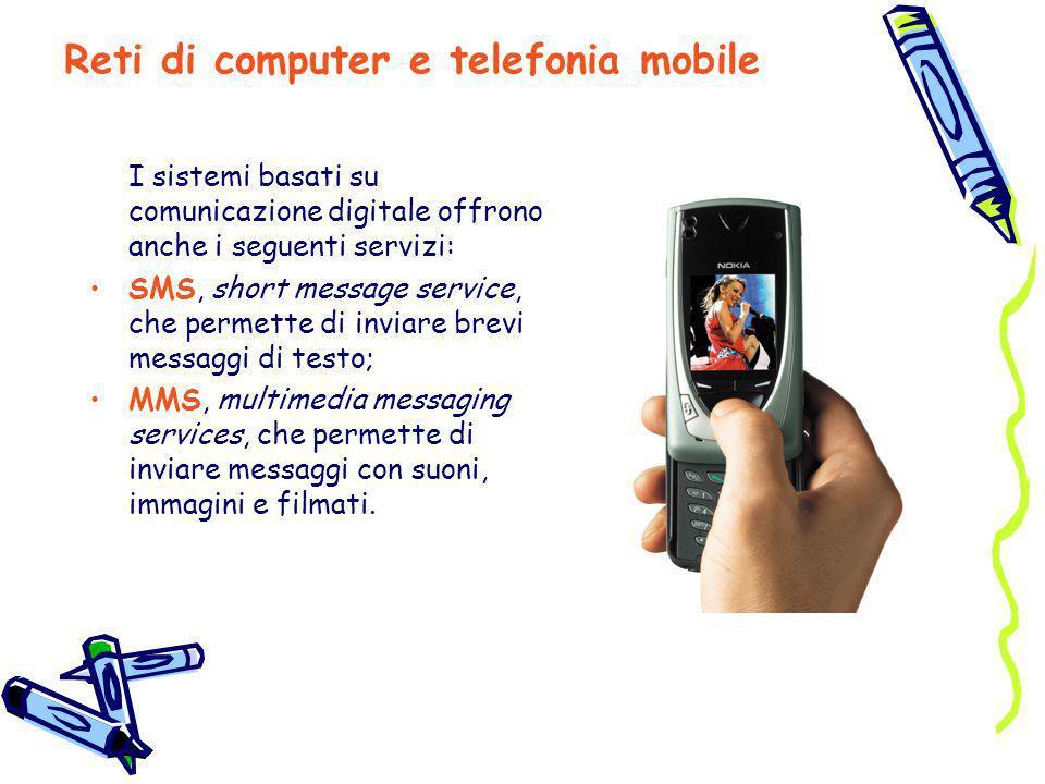 I sistemi basati su comunicazione digitale offrono anche i seguenti servizi: SMS, short message service, che permette di inviare brevi messaggi di tes