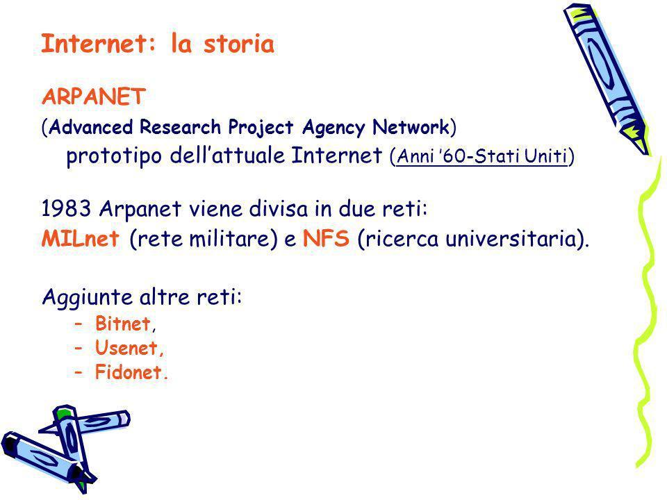 ARPANET (Advanced Research Project Agency Network) prototipo dellattuale Internet (Anni 60-Stati Uniti) 1983 Arpanet viene divisa in due reti: MILnet