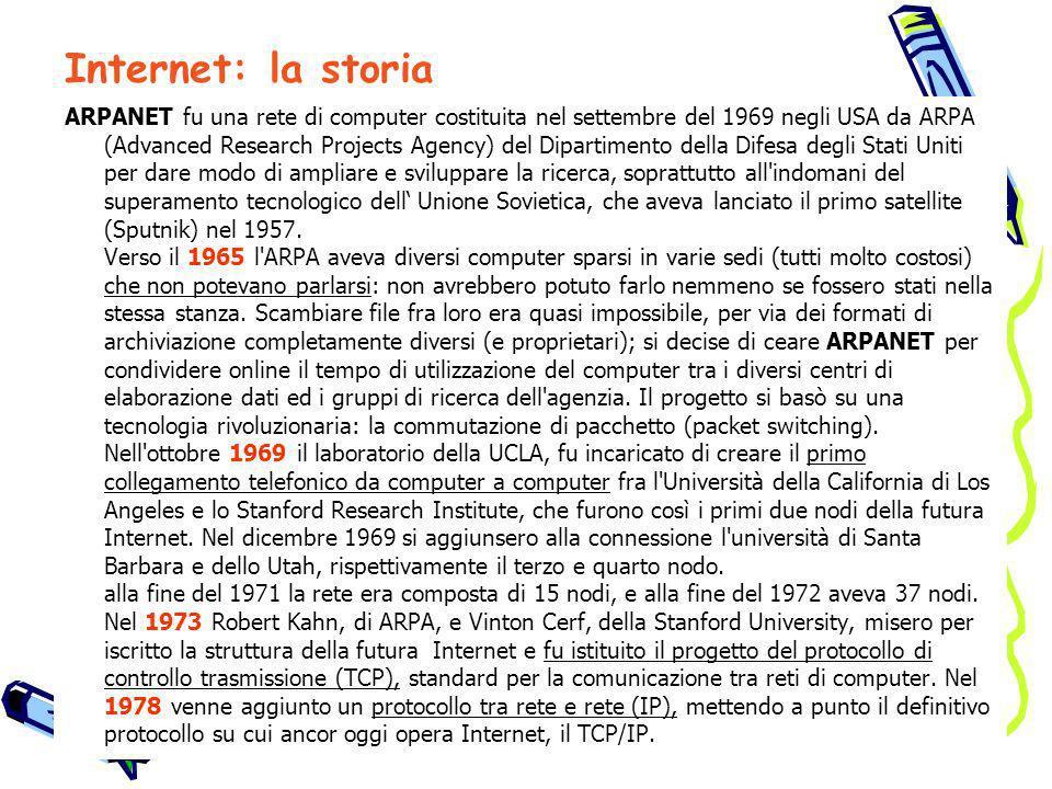 ARPANET fu una rete di computer costituita nel settembre del 1969 negli USA da ARPA (Advanced Research Projects Agency) del Dipartimento della Difesa