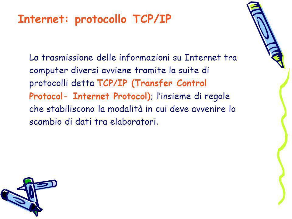 La trasmissione delle informazioni su Internet tra computer diversi avviene tramite la suite di protocolli detta TCP/IP (Transfer Control Protocol- In