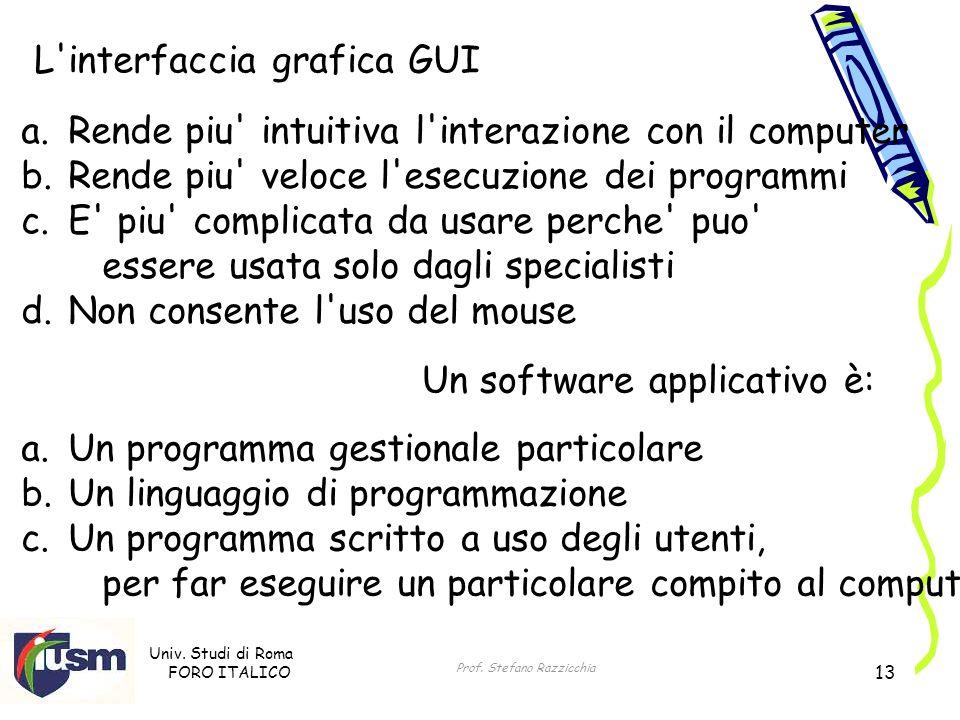 Univ. Studi di Roma FORO ITALICO Prof. Stefano Razzicchia 13 L'interfaccia grafica GUI a. Rende piu' intuitiva l'interazione con il computer b. Rende