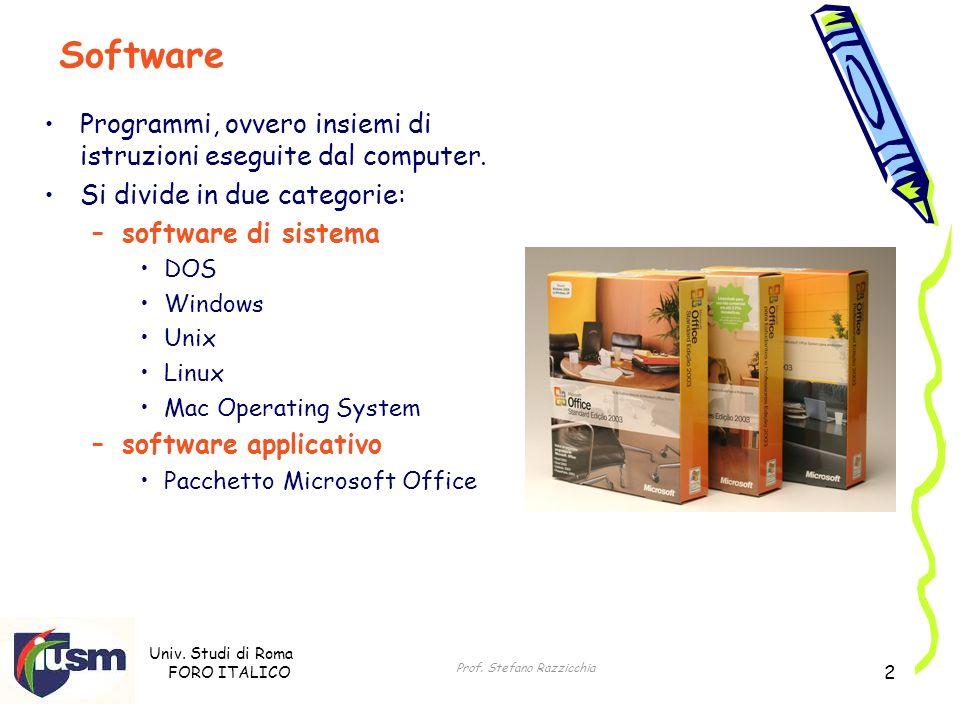 Univ. Studi di Roma FORO ITALICO Prof. Stefano Razzicchia 2 Programmi, ovvero insiemi di istruzioni eseguite dal computer. Si divide in due categorie: