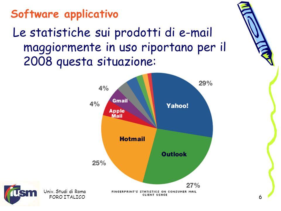 Univ. Studi di Roma FORO ITALICO Prof. Stefano Razzicchia 6 Software applicativo Le statistiche sui prodotti di e-mail maggiormente in uso riportano p