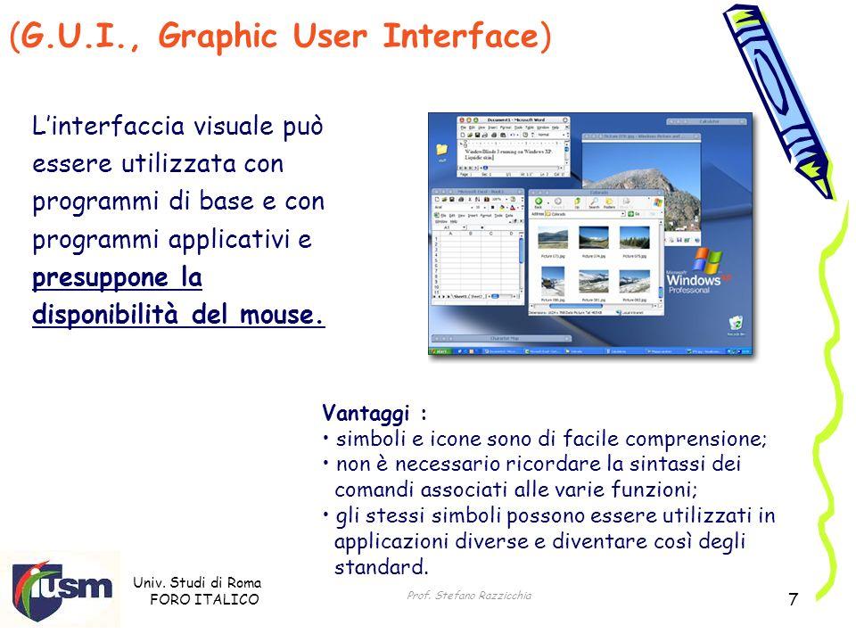 Univ. Studi di Roma FORO ITALICO Prof. Stefano Razzicchia 7 (G.U.I., Graphic User Interface) Linterfaccia visuale può essere utilizzata con programmi