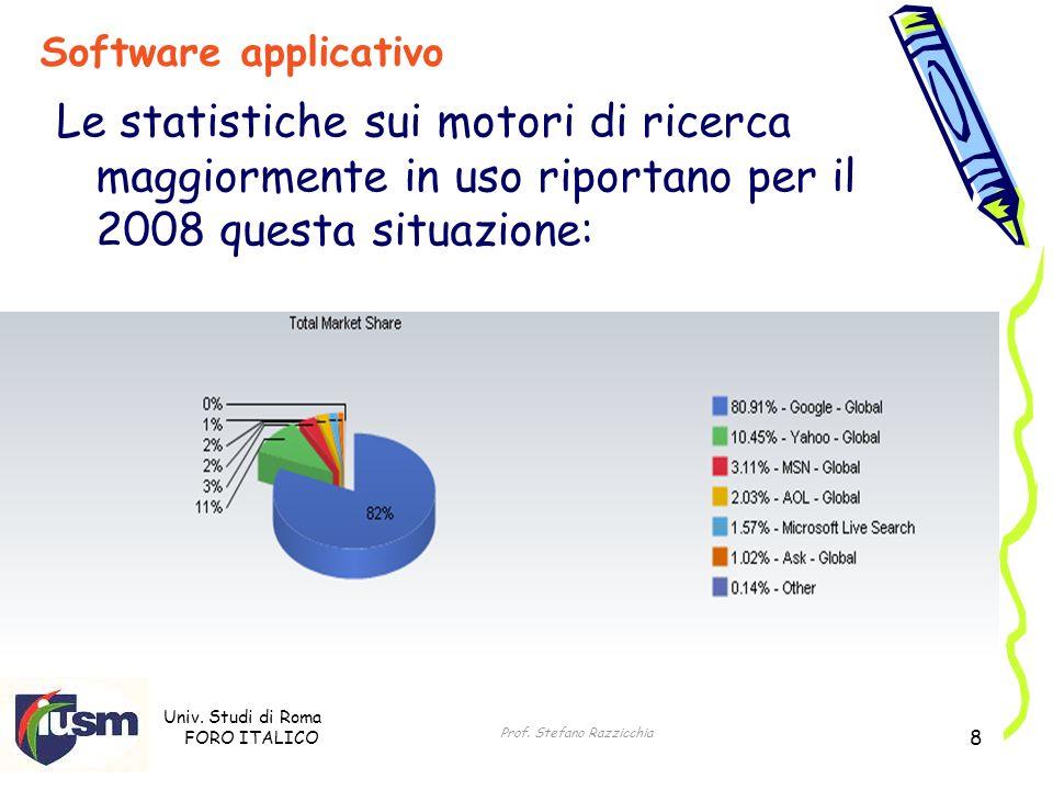 Univ. Studi di Roma FORO ITALICO Prof. Stefano Razzicchia 8 Software applicativo Le statistiche sui motori di ricerca maggiormente in uso riportano pe