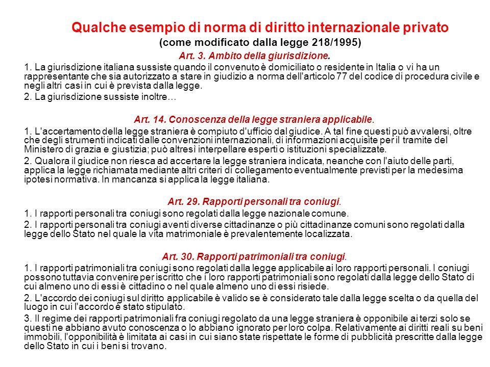 Qualche esempio di norma di diritto internazionale privato (come modificato dalla legge 218/1995) Art. 3. Ambito della giurisdizione. 1. La giurisdizi