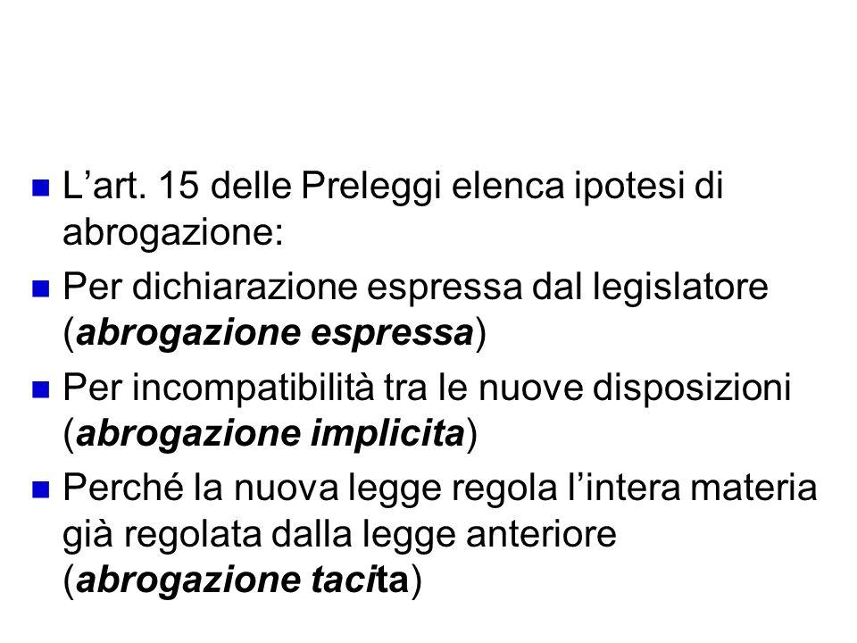 Tipi di abrogazione Lart. 15 delle Preleggi elenca ipotesi di abrogazione: Per dichiarazione espressa dal legislatore (abrogazione espressa) Per incom