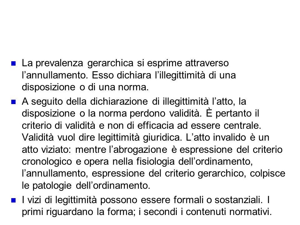 Effetto della prevalenza gerarchica: lannullamento La prevalenza gerarchica si esprime attraverso lannullamento. Esso dichiara lillegittimità di una d