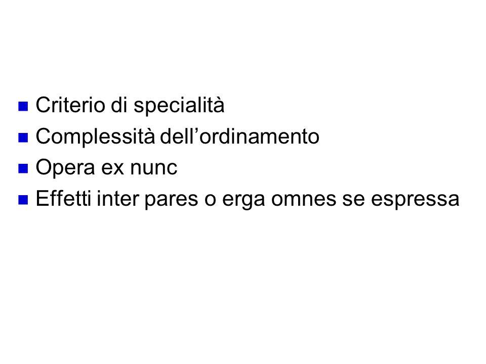 Schema deroga Criterio di specialità Complessità dellordinamento Opera ex nunc Effetti inter pares o erga omnes se espressa