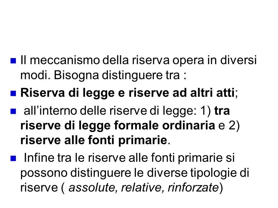 Tipologie delle riserve di legge Il meccanismo della riserva opera in diversi modi. Bisogna distinguere tra : Riserva di legge e riserve ad altri atti