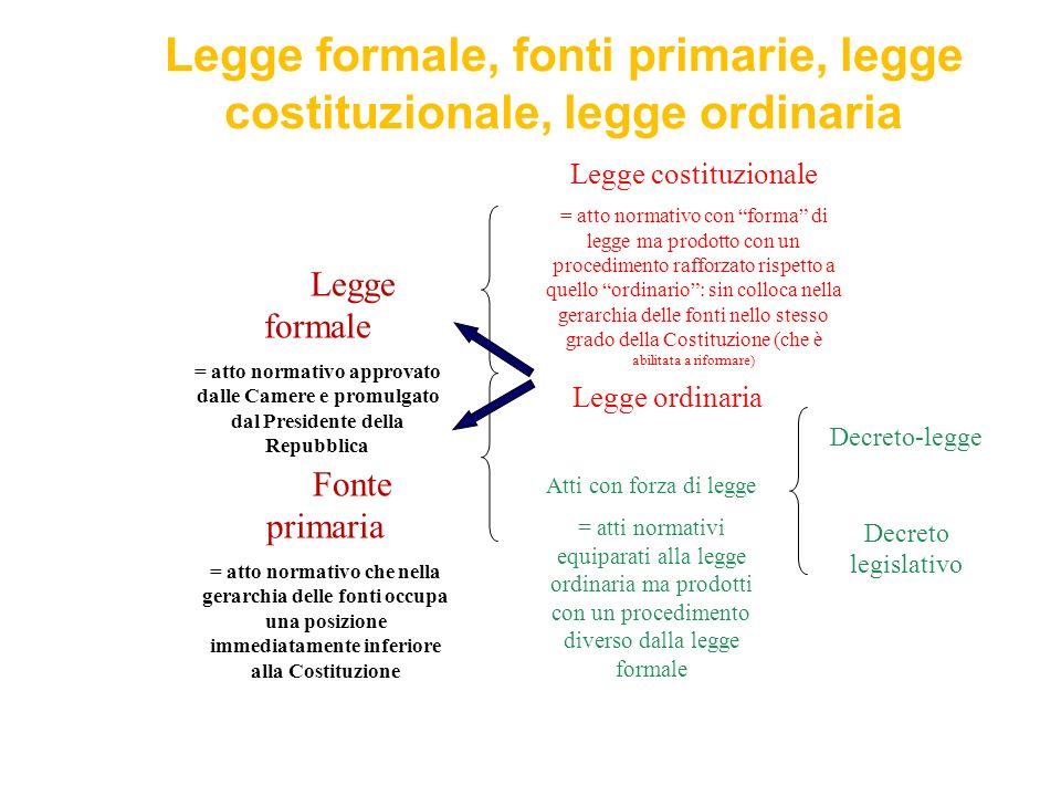 Legge formale, fonti primarie, legge costituzionale, legge ordinaria Legge costituzionale = atto normativo con forma di legge ma prodotto con un proce